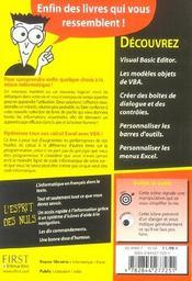 Vba Pour Excel - 4ème de couverture - Format classique