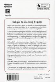 Pratique du coaching d'équipe - 4ème de couverture - Format classique