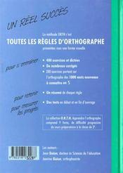 Livre de l'élève ; apprendre l'orthographe - 4ème de couverture - Format classique