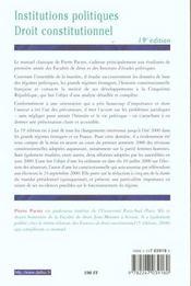 Institutions Politiques ; Droit Constitutionnel ; 19e Edition - 4ème de couverture - Format classique
