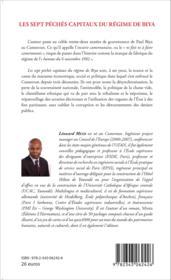 Sept péchés capitaux du régime Biya - Couverture - Format classique