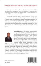 Sept péchés capitaux du régime Biya - 4ème de couverture - Format classique