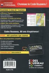 Code Rousseau ; le code de la route (édition 2020) - 4ème de couverture - Format classique