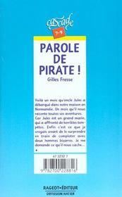 Parole De Pirate ! - 4ème de couverture - Format classique