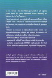 Programmation Lineaire Idees Et Methodes Deug Iut Licence Maitrise Classes Preparatoires - 4ème de couverture - Format classique