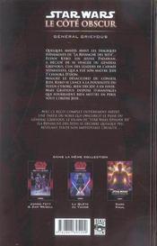 Star Wars - le côté obscur t.4 ; général Grievous - 4ème de couverture - Format classique