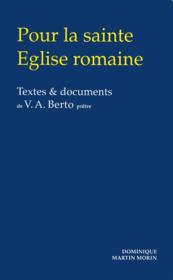Pour la sainte eglise romaine - Couverture - Format classique