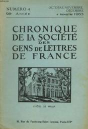 CHRONIQUE DE LA SOCIETE DES GENS DE LETTRES DE FRANCE N°4, 98e ANNEE ( 4e TRIMESTRE 1963) - Couverture - Format classique