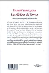 Les délices de Tokyo - 4ème de couverture - Format classique