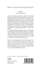 Dette ; 5000 ans d'histoire - 4ème de couverture - Format classique