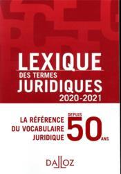Lexique des termes juridiques (édition 2020-2021) - Couverture - Format classique