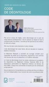 Code de déontologie de l'ordre des avocats de Paris (édition 2021) - 4ème de couverture - Format classique