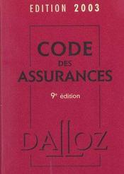 Code Des Assurances 2003 - Intérieur - Format classique