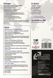Quinze ans d'indépendance, les nouveaux enjeux en Asie centrale (hiver 2006-2007) - 4ème de couverture - Format classique