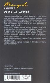 Maigret - pietr le letton - 4ème de couverture - Format classique