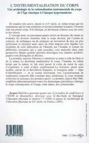 L'Instrumentalisation Du Corps - 4ème de couverture - Format classique