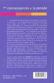 Les connaissances et la pensee (acireph) - 4ème de couverture - Format classique