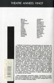 Théâtre futuriste italien t.1 ; anthologie critique - 4ème de couverture - Format classique