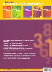 A Nous Les Maths ! ; Cm1 ; Livre De L'Elève - 4ème de couverture - Format classique