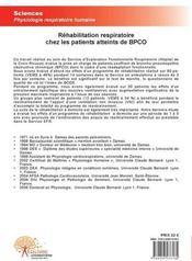 Réhabilitation respiratoire chez les patients atteints de BPCO - 4ème de couverture - Format classique