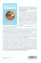 Dictionnaire pratique des saints - 4ème de couverture - Format classique