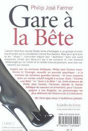 Gare A La Bete - 4ème de couverture - Format classique