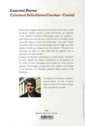 Crimes et faits divers ; Corrèze-Cantal - 4ème de couverture - Format classique