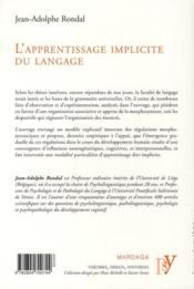 L'apprentissage implicite du langage - 4ème de couverture - Format classique