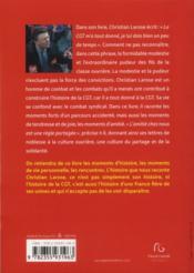 Itinéraire d'un syndicaliste - 4ème de couverture - Format classique