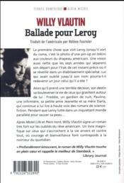 Ballade pour Leroy - 4ème de couverture - Format classique