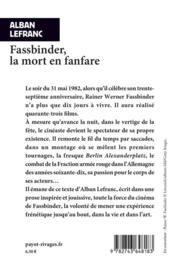 Fassbinder, la mort en fanfare - 4ème de couverture - Format classique