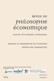 REVUE DE PHILOSOPHIE ECONOMIQUE ; normes et normativité en économie / norms and normativity in economics - Couverture - Format classique