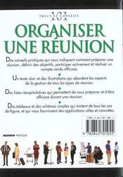 Organiser Une Réunion. Communiquer, Synchroniser, Compte Rendu, Clore, Ecouter... - 4ème de couverture - Format classique