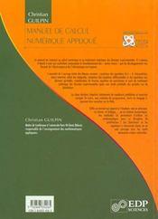 Manuel de calcul numérique appliqué - 4ème de couverture - Format classique