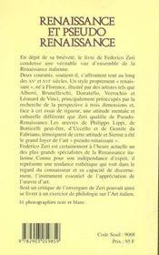 Renaissance et pseudo-renaissance - 4ème de couverture - Format classique