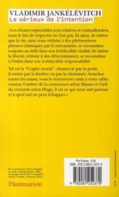 Traité des vertus t.1 ; le sérieux de l'intention - 4ème de couverture - Format classique