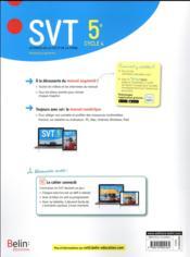 SVT ; 5e ; livre de l'élève (édition 2017) - 4ème de couverture - Format classique