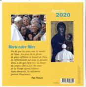 Agenda 2020 pape François ; Marie notre mère - 4ème de couverture - Format classique