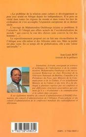 Culture Et Developpement En Afrique - 4ème de couverture - Format classique