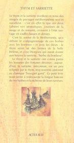Thym Et Sarriette - 4ème de couverture - Format classique