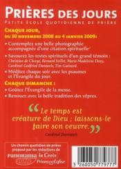Avent 2008 Prieres Des Jours Hs Pano - 4ème de couverture - Format classique