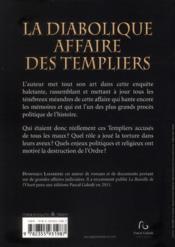 La Diabolique Affaire Des Templiers - 4ème de couverture - Format classique