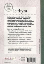 Le thym - 4ème de couverture - Format classique