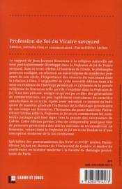 Profession de foi du vicaire savoyard ; avec un commentaire sur les influences protestantes de Rousseau - 4ème de couverture - Format classique