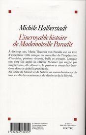 L'incroyable histoire de mademoiselle Von Paradis - 4ème de couverture - Format classique