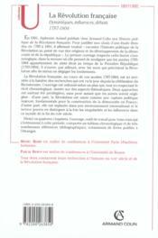 La Revolution Francaise ; Dynamiques, Influences, Debats, 1787-1804 - 4ème de couverture - Format classique