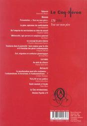Revue le coq héron N.179 ; tout sur mon père - 4ème de couverture - Format classique