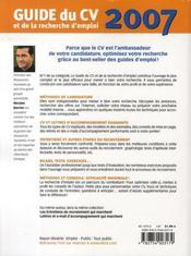 Guide Du Cv Et De La Recherche D'Emploi (edition 2007) - 4ème de couverture - Format classique