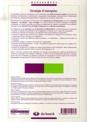 Stratégie d'entreprise - 4ème de couverture - Format classique