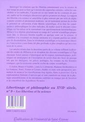 Libertinage et philosophie n9 - 4ème de couverture - Format classique